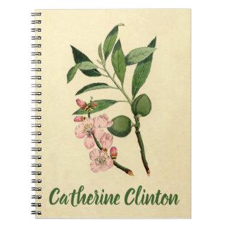 Vintage Pink Almond Flower Botanical Floral Print Notebooks