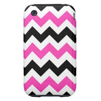 Vintage Pink and Black chevron Tough iPhone 3 Covers