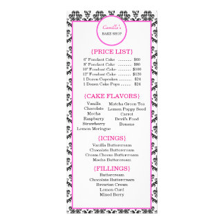 Vintage Pink and Black Damask Bakery Rack Card