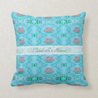 Vintage Pink and Blue Wallpaper With Name Cushion