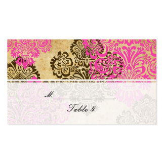 Vintage Pink and Brown Damask Wedding Place Cards Business Card