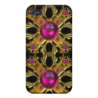 Vintage pink and Gold Jewels Image  Case For iPhone 4