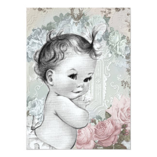 """Vintage Pink and Gray Baby Girl Shower 5.5"""" X 7.5"""" Invitation Card"""