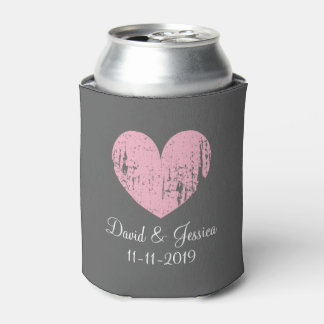 Vintage pink and gray heart wedding can coolers