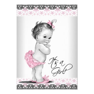 Vintage Pink and Grey Baby Girl Shower Card