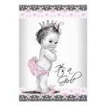 Vintage Pink and Grey Baby Girl Shower Personalised Invitations