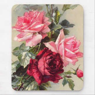 Vintage Pink and Red Roses Mouse Pad