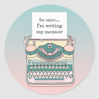 Vintage Pink and Teal Typewriter Customizable Text Classic Round Sticker