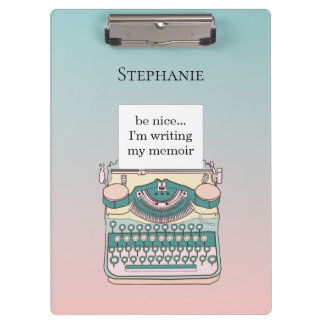 Vintage Pink and Teal Typewriter Customizable Text Clipboard