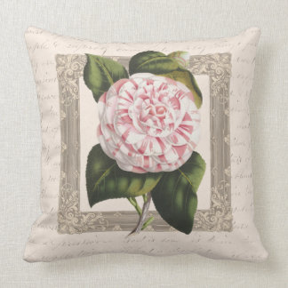 Vintage Pink and White Camellia Cushion