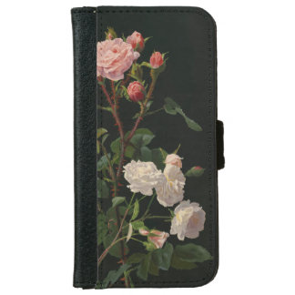 Vintage Pink and White Roses iPhone 6 Wallet Case