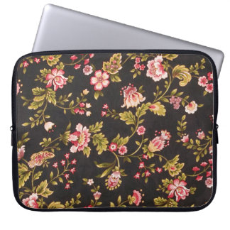 Vintage Pink And Yellow Floral Pattern Laptop Sleeve