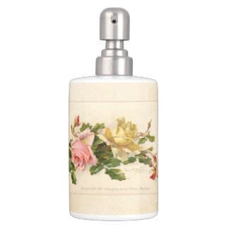 Vintage Pink and Yellow Roses Soap Dispensers