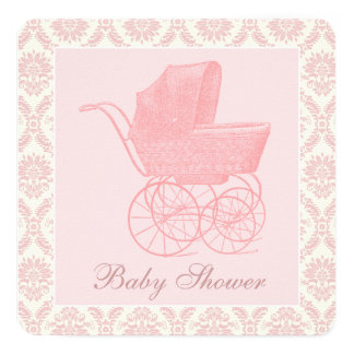 Vintage Pink Baby Carriage Baby Girl Shower 13 Cm X 13 Cm Square Invitation Card