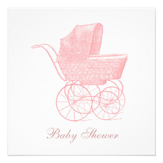 Vintage Pink Baby Carriage Baby Girl Shower Personalized Announcement