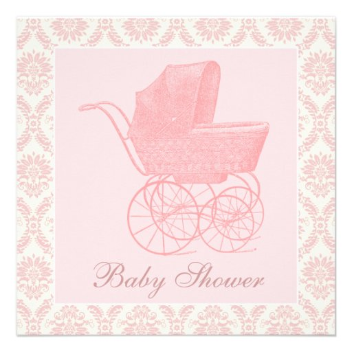 Vintage Pink Baby Carriage Baby Girl Shower Custom Announcements