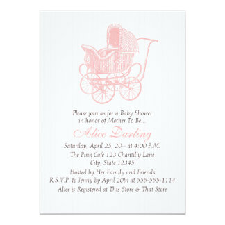 Vintage Pink Baby Carriage Baby Shower 13 Cm X 18 Cm Invitation Card