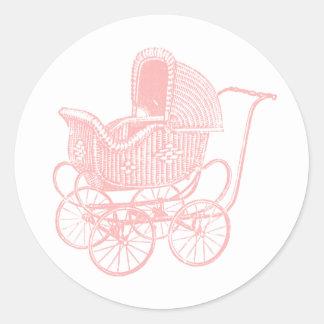 Vintage Pink Baby Carriage Baby Shower Round Sticker