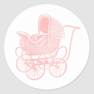 Vintage Pink Baby Carriage Baby Shower Classic Round Sticker