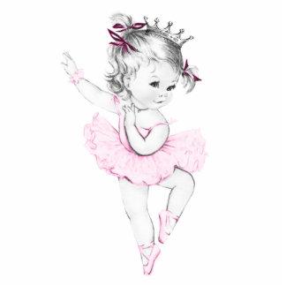 Vintage Pink Ballerina Princess Baby Girl Shower Standing Photo Sculpture