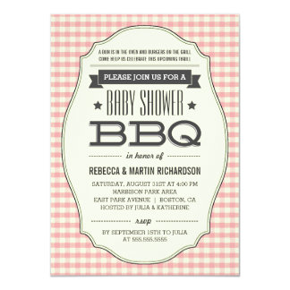 Vintage Pink BBQ Girl Baby Shower Invitations