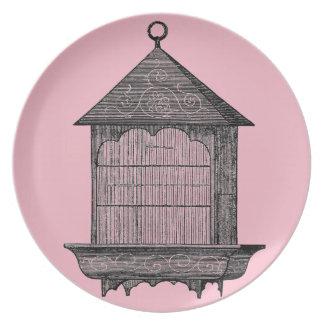 Vintage Pink Birdcage Plates