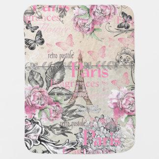 Vintage pink black floral Paris Eiffel Tower typo Baby Blanket