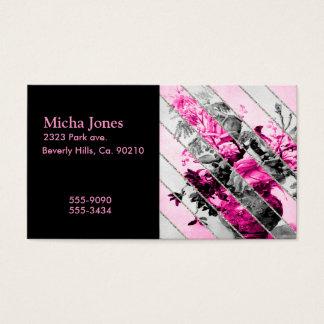 Vintage Pink Black White Floral Stripes Glitter
