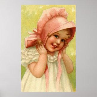 Vintage Pink Bonnet Girl Poster