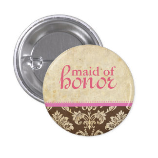 Vintage Pink Brown Damask Maid of Honor Button