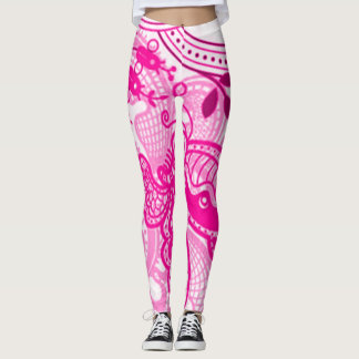 Vintage Pink Butterfly Pattern Leggings