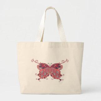 Vintage Pink Butterfly Jumbo Tote Bag