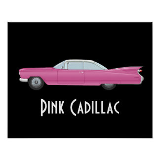 Vintage Pink Cadillac with Black Background Poster