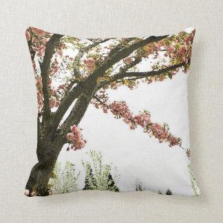 Vintage pink cherry blossom tree cushion