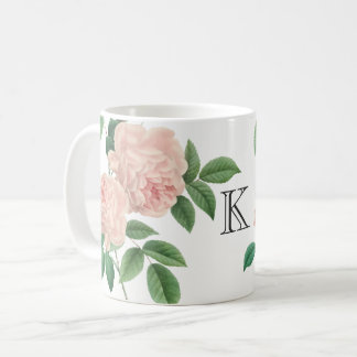 Vintage Pink China Rose Botanical with Monogram Coffee Mug