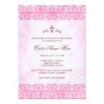 Vintage pink damask baptism/christening invitation