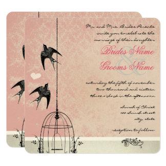 Vintage Pink Damask Birdcage Save the Date Card