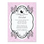 Vintage Pink Damask Girls Baby Shower Invitation 13cm X 18cm Invitation Card