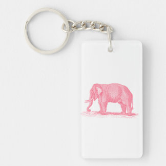 Vintage Pink Elephant 1800s Elephants Illustration Key Ring