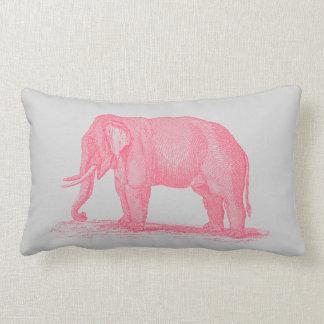 Vintage Pink Elephant on Gray 1800s Elephants Lumbar Cushion
