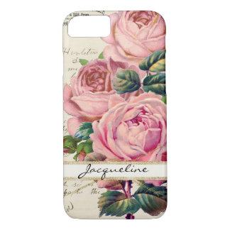 Vintage Pink English Roses w Script Handwriting iPhone 7 Case