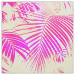Vintage pink exotic palm tree retro yellow fabric