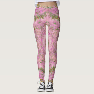 Vintage Pink Fairies and Yellow Daisies Leggings