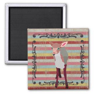 Vintage Pink Fawn Stripes Magnet