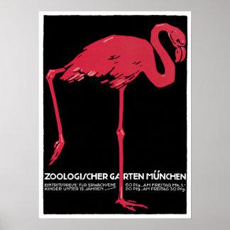 Vintage Pink Flamingo Munich Zoo Poster