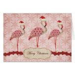 Vintage Pink Flamingos  Merry Christmas Card