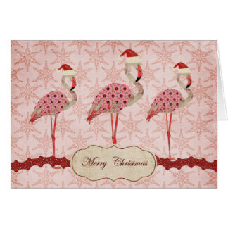 Vintage Pink Flamingos  Merry Christmas Card