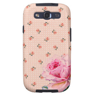 Vintage pink floral and dots galaxy s3 cover