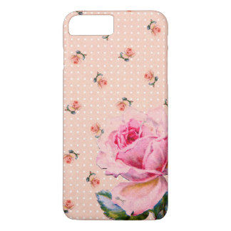 Vintage Pink Floral and Dots iPhone 7 Plus Case