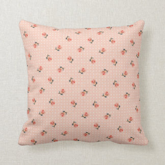 Vintage pink floral and dots throw pillow